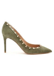 Valentino Rockstud point-toe suede pumps