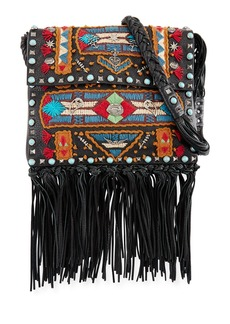 Valentino Garavani Rockstud Rolling Embroidered Fringe-Trim Leather Crossbody Bag