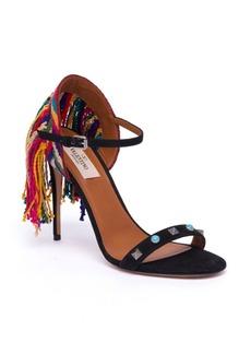 VALENTINO GARAVANI Rockstud Rolling Embroidered Fringed Suede Sandals