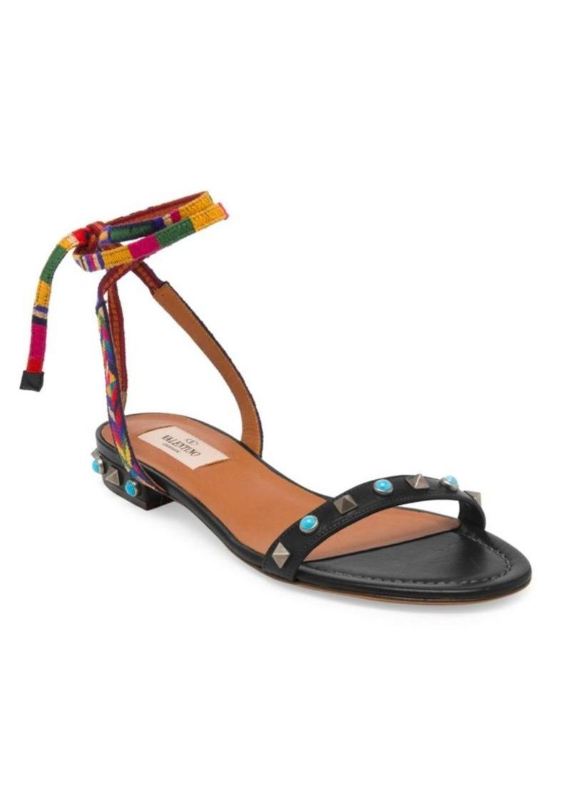 d7b705e4531 GARAVANI Rockstud Rolling Embroidered Leather Ankle-Wrap Sandals. Valentino