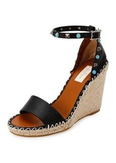 Valentino Rockstud Rolling Espadrille Wedge Sandal