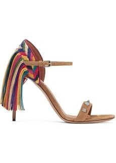 Valentino Rockstud Rolling fringed suede sandals