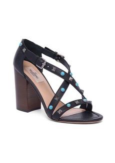 VALENTINO GARAVANI Rockstud Rolling Leather Block Heel Sandals