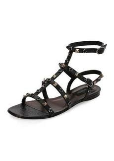 Valentino Rockstud Rolling Leather Flat Sandal