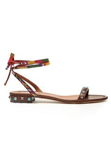 Valentino Rockstud Rolling leather flat sandals