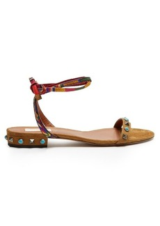 Valentino Rockstud Rolling suede flat sandals