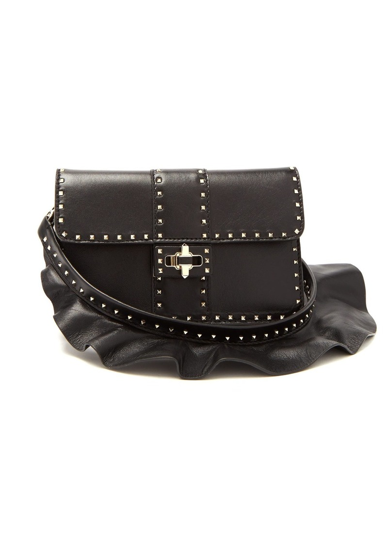 47eeae74b2e Valentino Valentino Rockstud ruffle-strap cross-body leather bag ...