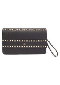 Valentino Rockstud smooth-leather wristlet clutch