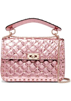 Valentino Garavani The Rockstud Spike medium quilted metallic leather shoulder bag