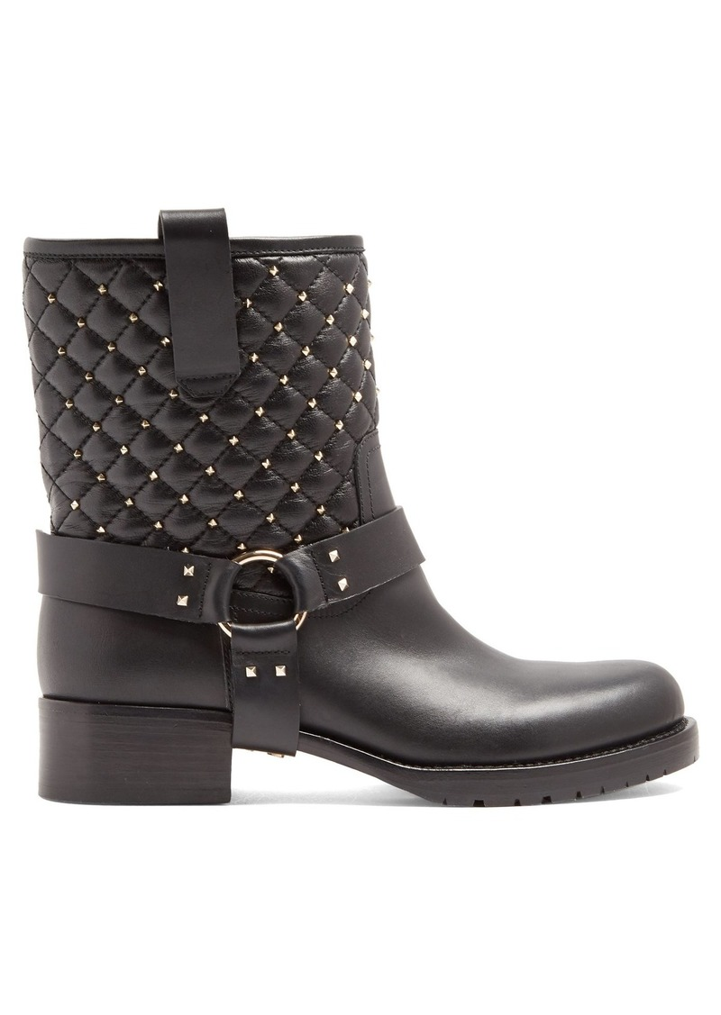 185e2c4fc6d3 Valentino Valentino Rockstud Spike quilted-leather biker boots