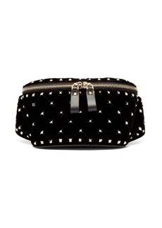 Valentino Rockstud Spike quilted-velvet and leather belt bag