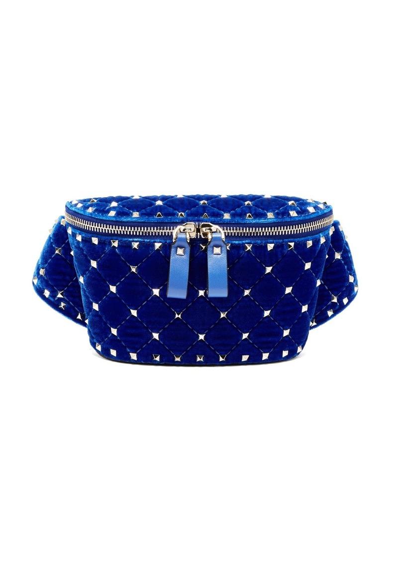 Valentino Rockstud Spike quilted-velvet belt bag