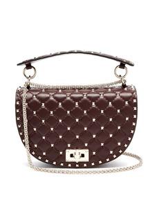 Valentino Rockstud Spike Saddle leather shoulder bag