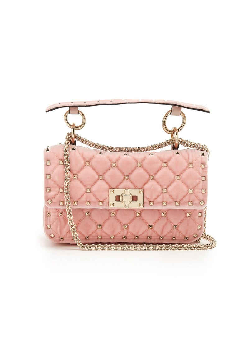 dc5ca928db Valentino Valentino Rockstud Spike small quilted-velvet shoulder bag ...