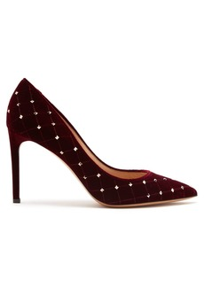 Valentino Rockstud Spike velvet point-toe pumps