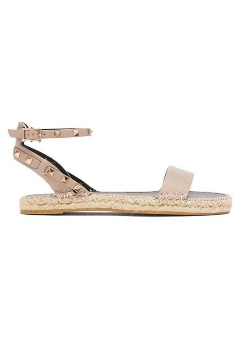 Valentino Rockstud-strap leather espadrille sandals
