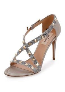 Valentino Rockstud Strass Crisscross 90mm Sandal