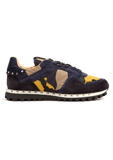Valentino Rockstud suede-panel low-top trainers