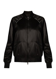 Valentino Rockstud Untitled #14 satin bomber jacket