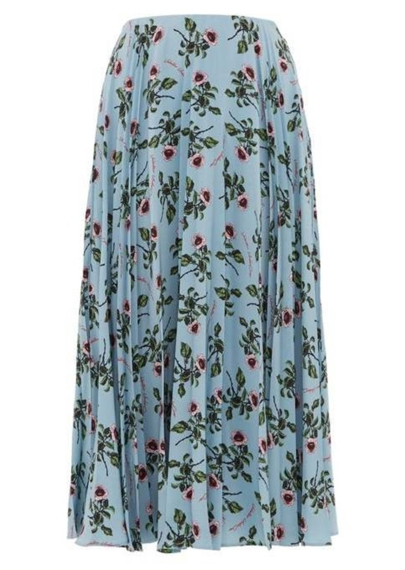 Valentino Rose and lip-print pleated silk skirt