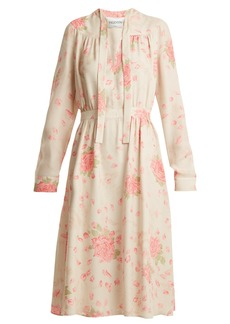 Valentino Rose-print silk-georgette dress