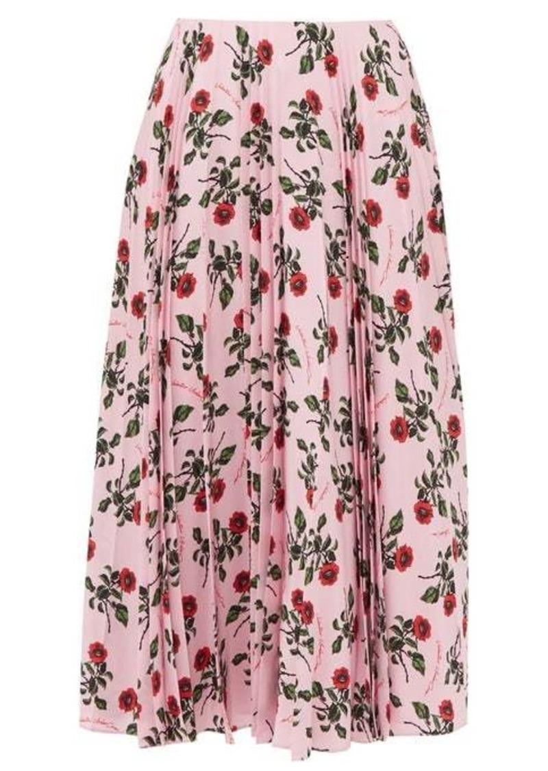 Valentino Rose-printed pleated silk midi skirt