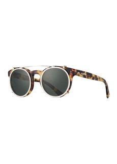 Valentino Round Crystal-Rim Sunglasses