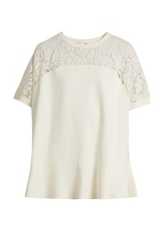 Valentino Round-neck lace-panel sweater