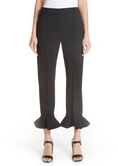 Valentino Ruffle Hem Stretch Wool Trousers