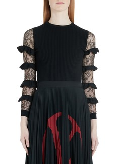 Valentino Ruffle Lace Sleeve Sweater