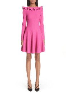 Valentino Ruffle Neck Knit Dress