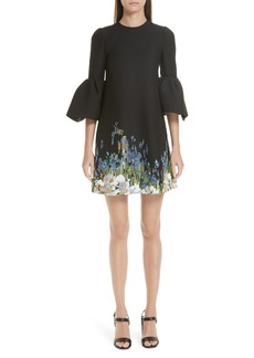 Valentino Ruffle Sleeve Floral Embroidered Dress