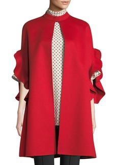 Valentino Ruffle-Sleeve Open-Front Wool-Cashmere Coat