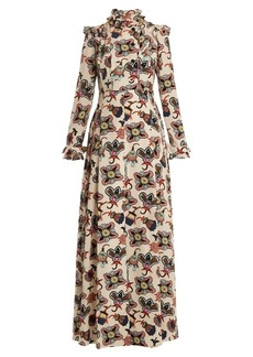 Valentino Ruffle-trim floral-print pleated gown