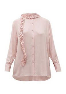 Valentino Ruffle-trim silk georgette blouse