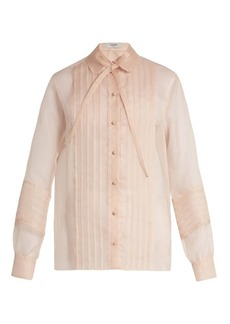 Valentino Ruffle-trimmed pintucked silk-organza blouse