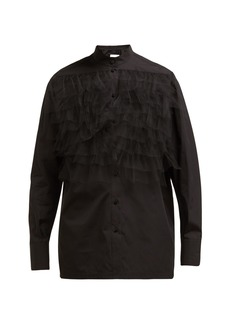 Valentino Ruffle-trimmed poplin blouse