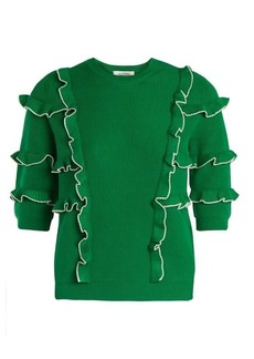 Valentino Ruffle-trimmed ribbed-knit cotton sweater