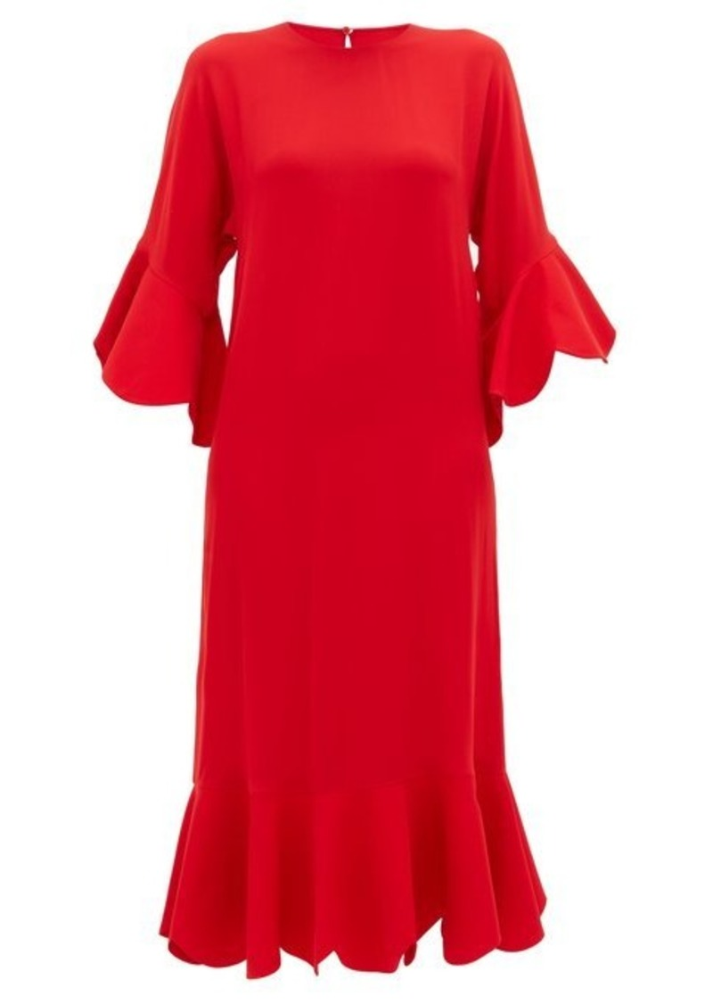 Valentino Ruffle-trimmed silk dress