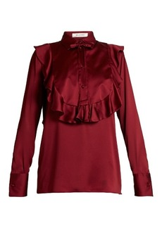 Valentino Ruffled-bib satin blouse