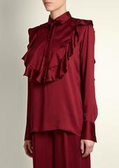 Valentino Ruffled-bib satin blouse