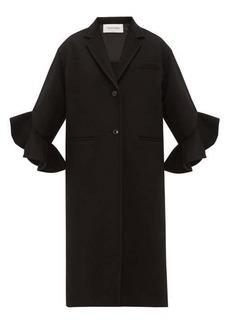 Valentino Ruffled-cuff single-breasted wool-blend coat