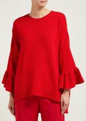 Valentino Ruffled-cuff virgin wool-blend sweater