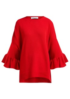 Valentino Ruffled-cuff virgin wool-blend sweater