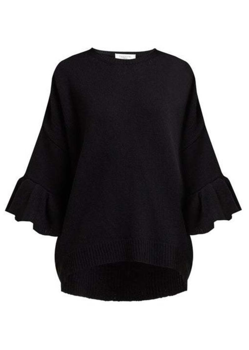 Valentino Ruffled-cuff wool-blend sweater