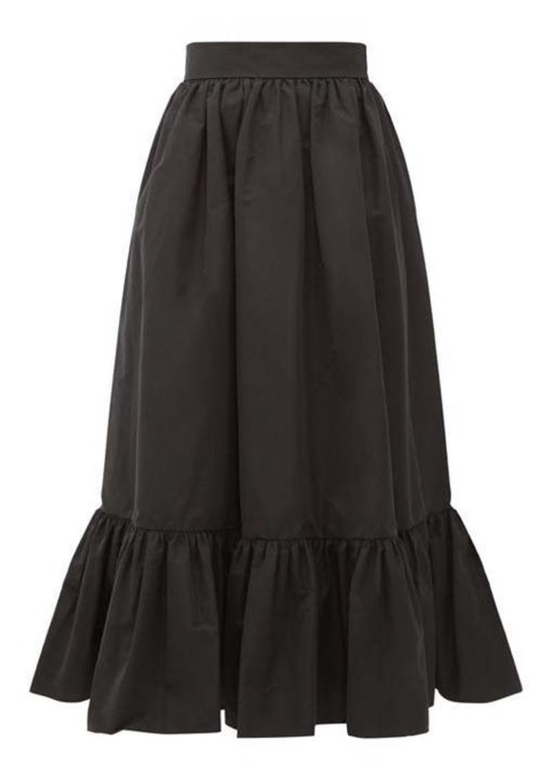 Valentino Ruffled-hem cotton-blend faille midi skirt