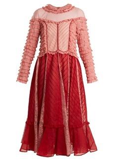 Valentino Ruffled high-neck cotton-organdy dress
