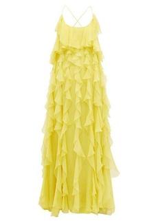 Valentino Ruffled open-back silk-chiffon gown