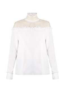 Valentino Ruffled sheer-panel cotton top
