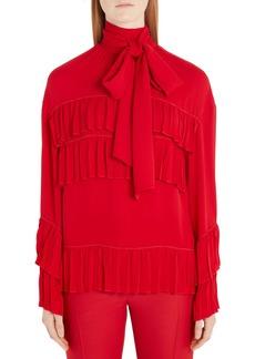 Valentino Ruffled Tie Neck Silk Georgette Blouse